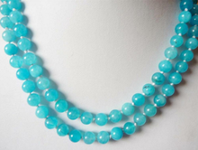 "Collier de perles rondes en topaze bleue sud-africaine naturelle 36 ""8mm(China)"