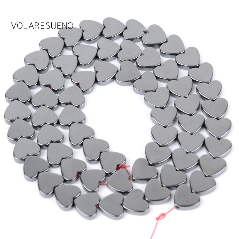 """Natural Black Love Heart Hematite Round Loose Beads For Jewelry Making 8mm Spacer Beads Fit Diy Bracelet Necklace Accessory 15"""" in Beads from Jewelry Accessories"""