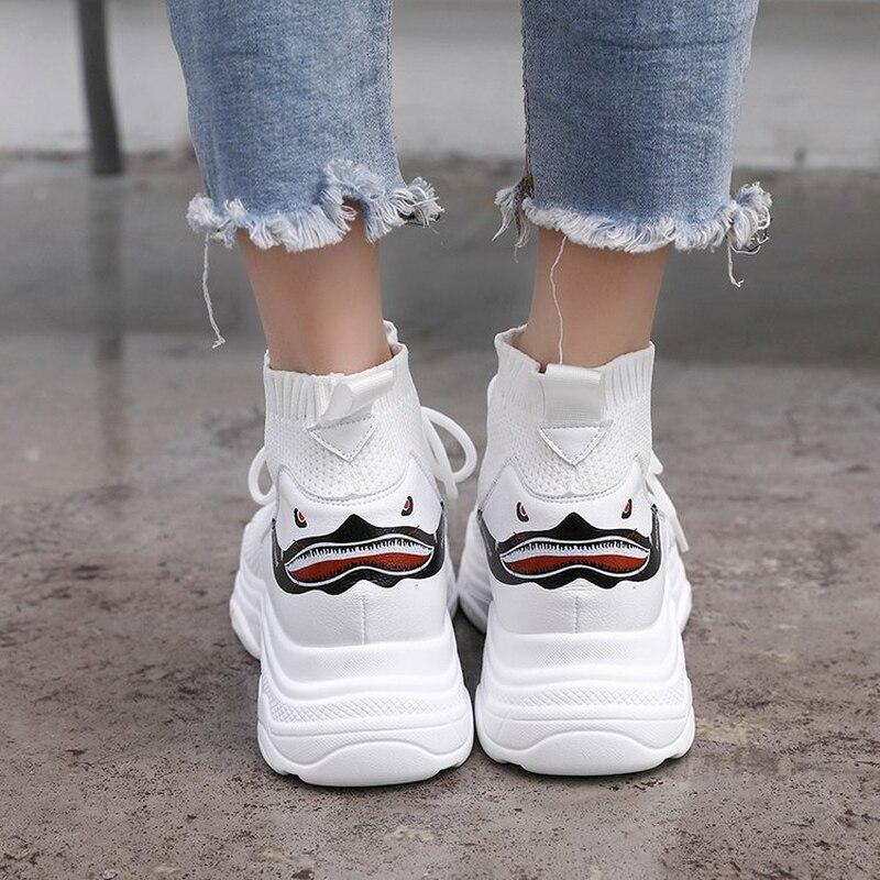 2019 Nieuwe Vrouwen Sneakers Schoenen Shark Ontwerp Vrouwen Hoge Top Sneakers Air Mesh Casual Chunky Sneakers Vrouwelijke Schoenen Zapatos De mujer