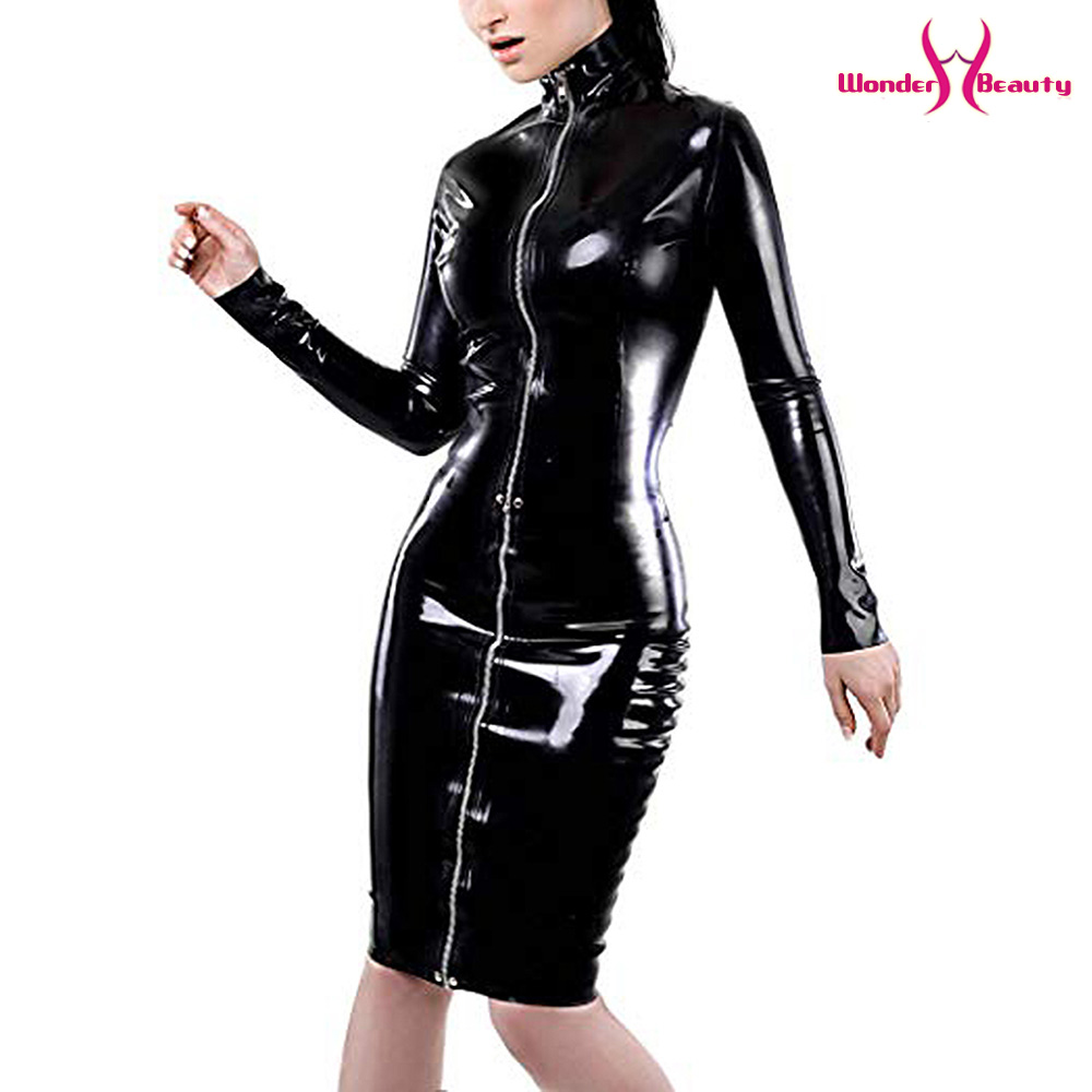 leather pencil dress sexy black pvc leather gothic midi dress lace up bondage latex clubwear long zipper wetlook vinyl dresses (11)