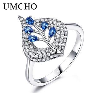 Image 3 - UMCHO  S925 Sterling Silver Rings for Women Nano Sapphire Ring Gemstone Aquamarine Cushion  Romantic Gift Engagement Jewelry