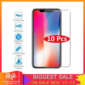 10Pcs Tempered Glass For iPhone X XS MAX XR 4 4s 5 5s SE 5c Screen