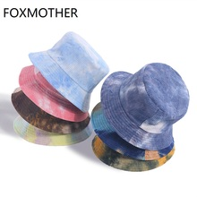 FOXMOTHER Dropshipping New Fashion Autumn Winter Reversible Multicolor Tie Dye Bucket Hats Corduroy Fisherman Caps Women Gorros