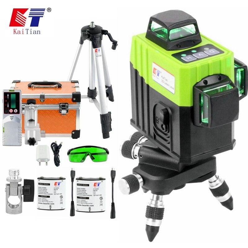 Kaitian лазерный уровень зеленый 12 линий 3d лазерный нивелир 360 градусов поворотный Вертикальные и горизонтальные лазеры функцией приемника функция наклона Профессиональное измерение строительный инструмент уровень