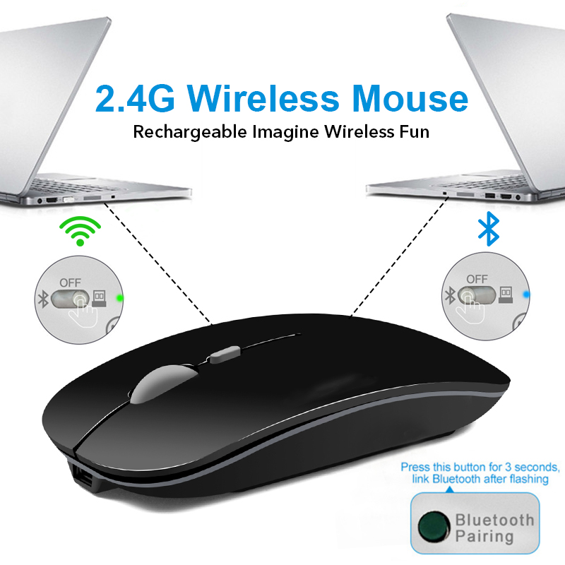 iMice Wireless Mouse Silent Bluetooth Mouse 4 0 Computer Mause Rechargeable Built in Battery USB Mice