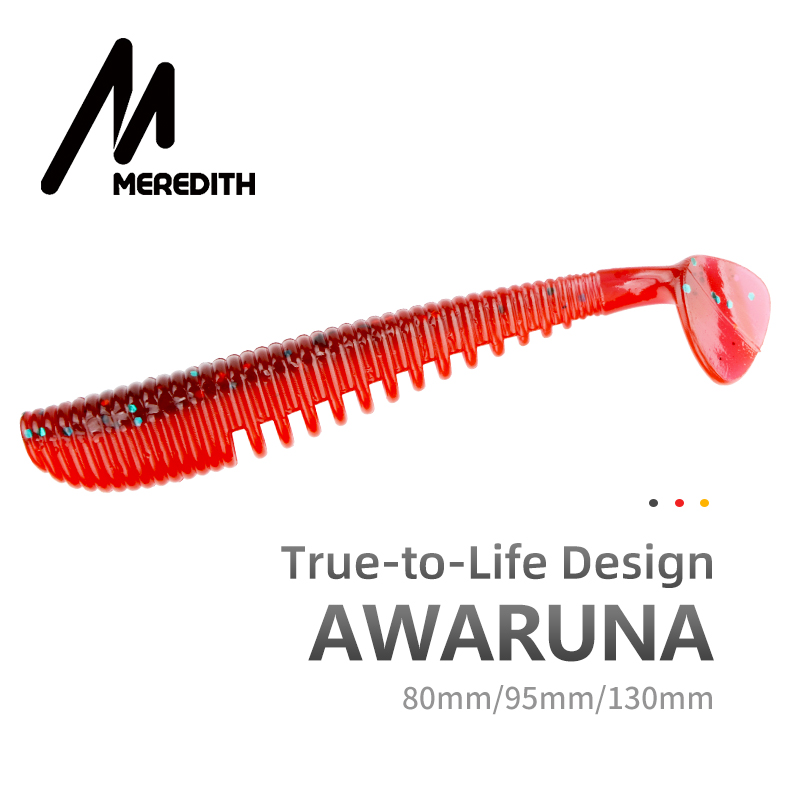 Fishing MEREDITH Awaruna Fishing Lures 8cm 9.5cm 13cm Artificial Baits Wobblers Soft Lures Shad Carp Silicone Fishing Soft Baits Tackle