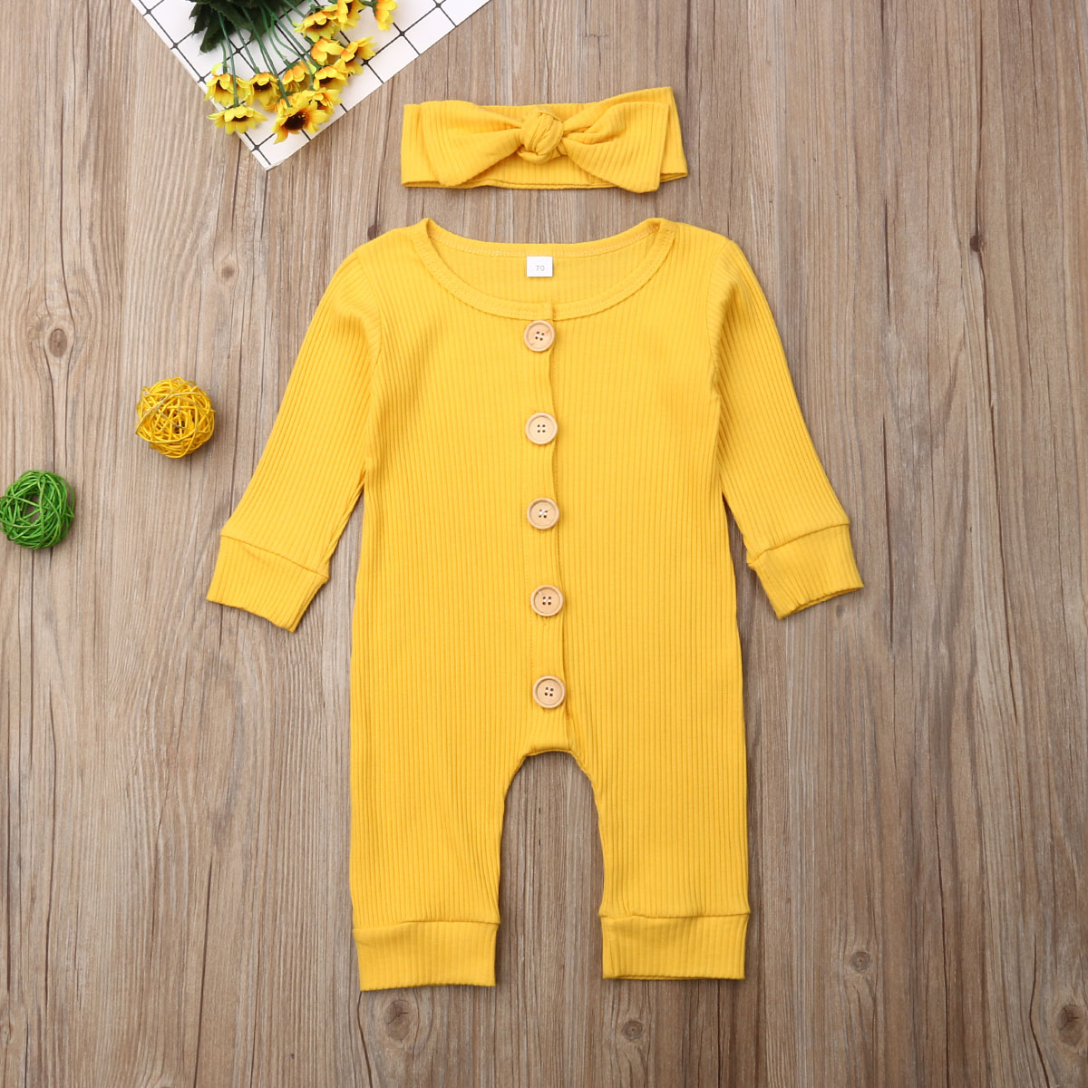 Hbef1e199a5fc4aea938f9fb11d71d7dbh Spring Fall Newborn Baby Girl Boy Clothes Long Sleeve Knitted Romper + Headband Jumpsuit 2PCS Outfit 0-24M