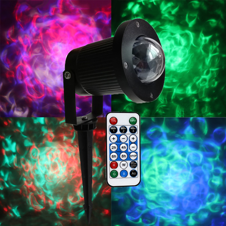 BEIAIDI Outdoor Water Wave Ripple Light Christmas Laser Projector Lamp With Remote Waterproof Wedding Holiday Effect Stage Light