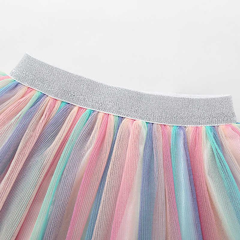 الخريف الأطفال أطفال بنات قوس قزح تنورة جميلة مرونة الخصر شبكة قصيرة التنانير الملونة أخبار