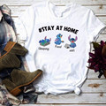 Футболка с принтом let's stay at home для мужчин и женщин, летние топы с забавными стежками в стиле Харадзюку, мультяшная футболка с Wi-Fi для сна и еды,...
