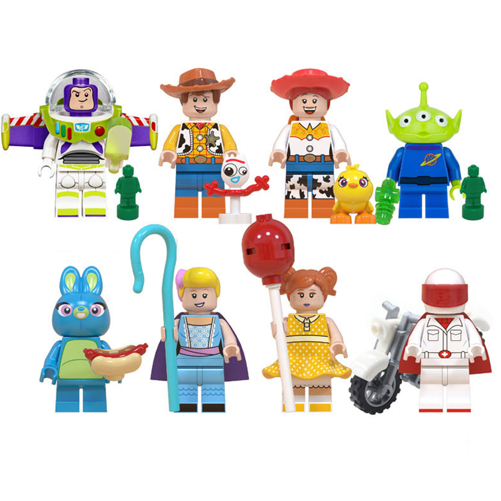 Disney Toy Story4 Movie Characters Action Figure Buzz Lightyear Alien Bonnie Woody Jessie Ducky Duke Caboom Building Blocks Kid