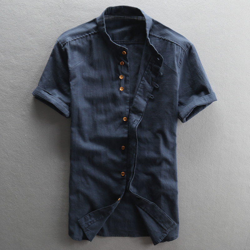 Men's Vintage Mandarin Collar Short Sleeves Cotton Linen White Blue Style Thin Summer Shirt Men Casual Shirts Male