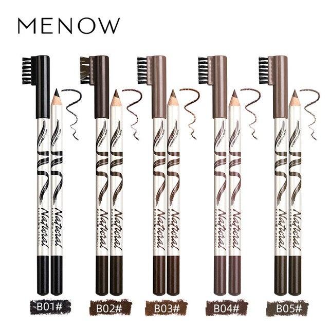 Menow 1pc eyebrow Waterproof Black Brown Eyebrow Tattoo Pencil Long-lasting Eyebrow Enhancer with Brush Makeup Cosmetic Tools 2