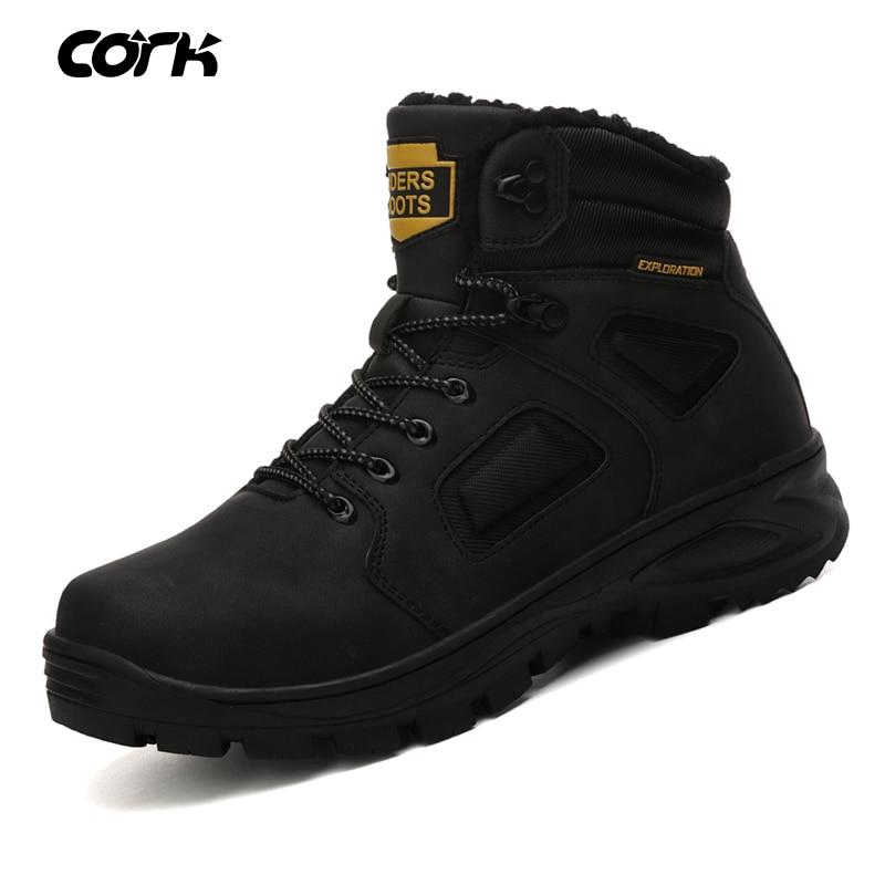 CORK Men Winter Snow Boots Warm Men High Quality Waterproof Leather Men Winter Boots Outdoor Male Work Shoes Botas Hombre 40-46