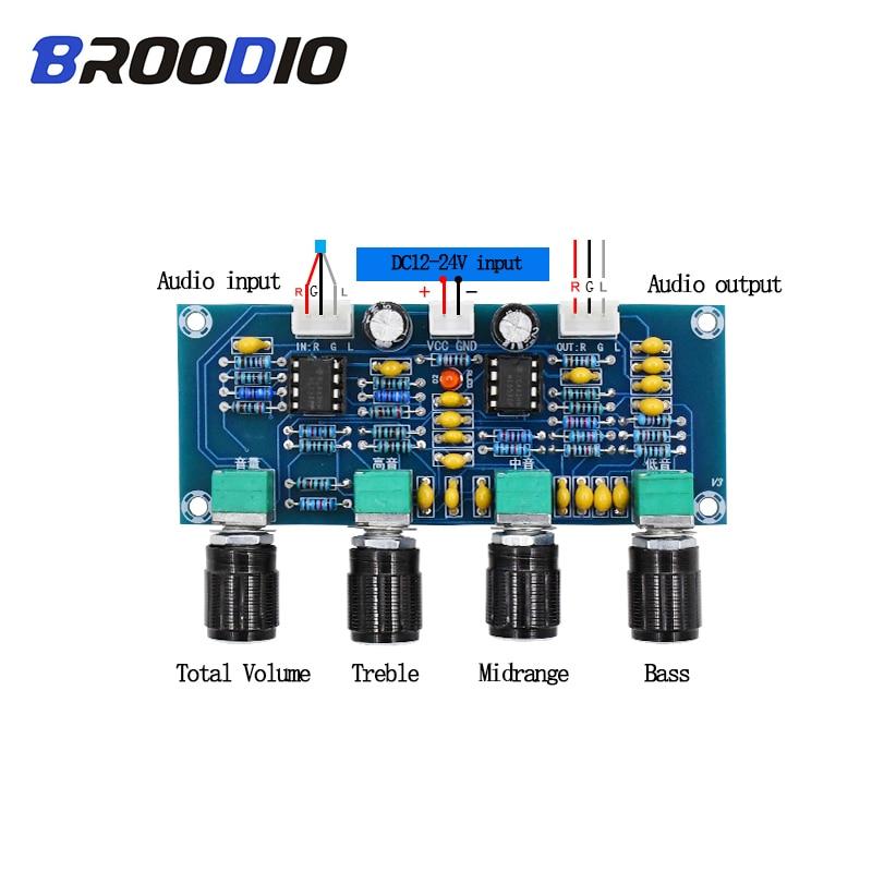 For Digital Amplifiers Board NE5532 Tone board Preamp Pre-amp With Treble Bass Volume Adjustment Pre-amplifier Tone Controller