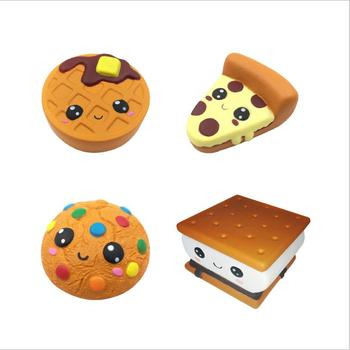 Cute Simulation Chocolate Biscuit Pizza Bread Squeeze Toy Scented Stress Relief for Kid Fun Gift Toy jumbo kawaii chocolate biscuit squishy soft squeeze toy simulation bread cake scented slow rising anti stress fun for kid gift