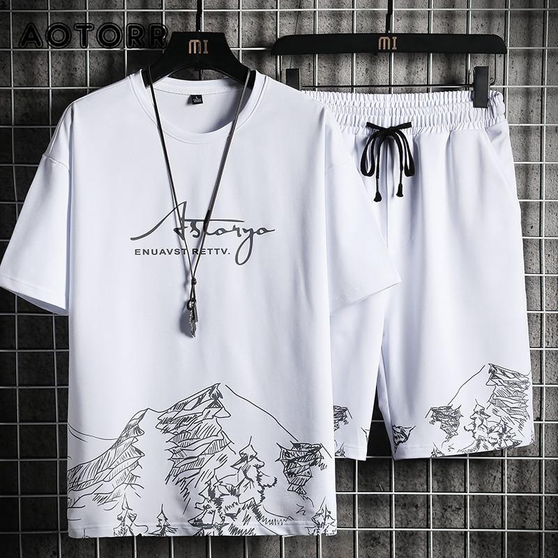 Костюм спортивный мужской из футболки и шортов, повседневный Модный комплект из 2 предметов, джоггеры, уличная одежда, 4XL, лето