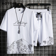 Casual Shorts Set Männer Sommer Mode Sport Anzug T-Shirt + Shorts Sportkleidungen 2 Stück Sets Männlichen Jogger Trainingsanzug Streetwear 4XL