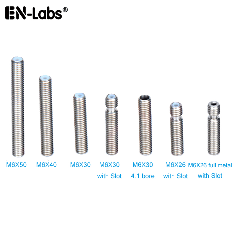 MK8 MK9 Throat 1.75mm Filament Stainless Steel Nozzles Throat M6 40mm 50mm 30mm Metal /Teflon / Bore 4.1mm For Extruder Hot End
