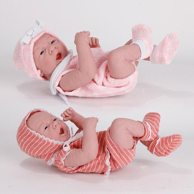 35CM New Baby Dolls Reborn Bebe Toys Lying Down Shape Silicone Full Body Toddler Newborn Reborn
