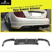 Carbon Fiber / FRP Rear Bumper Diffuser Lip Spoiler for Mercedes-Benz C-Class W204 C63 AMG Sedan 4Door Only 2008 - 2011