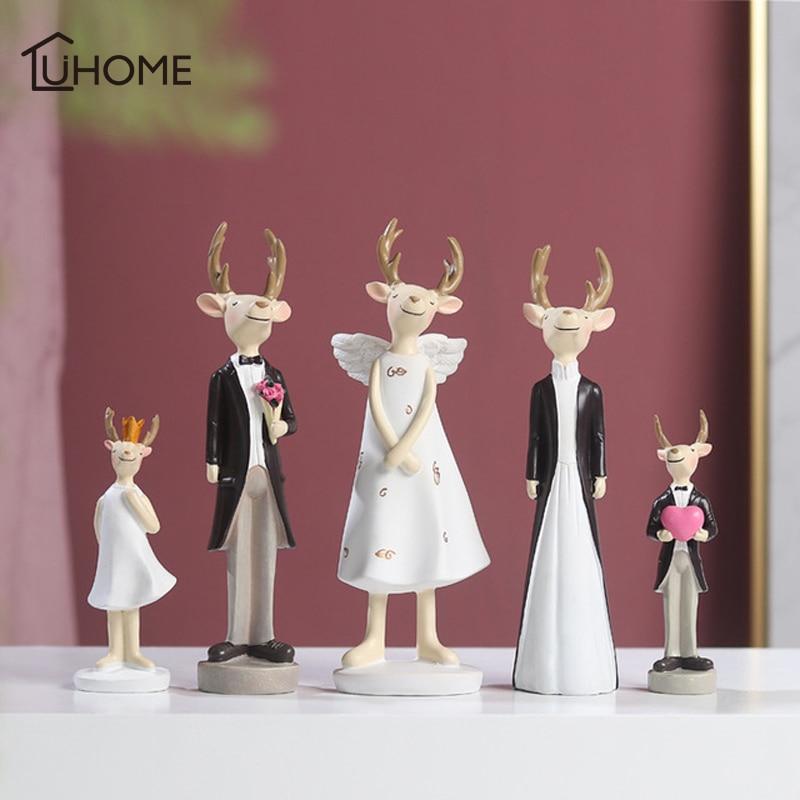 Résine créative Couple Elk ornement artisanat cadeau maison fête décoration Art cerf Figurines noël mode famille Elk amoureux cadeaux