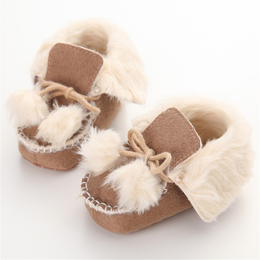 New Fashion 3 Colors Winter Cute Newborn Baby Shoes With Two Cute Balls Cotton Soft Sole Shoes For First Walkers