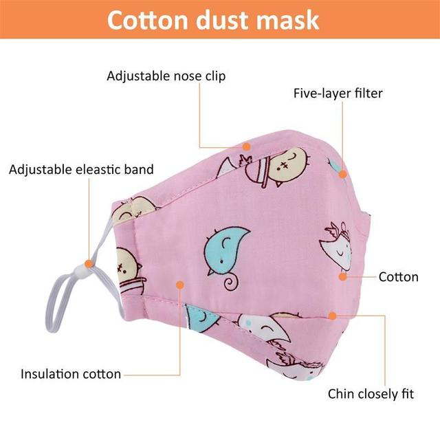 3pcs Mouth Mask Cartoon Printing Breathable Half Face Anti-Dust Mask Cotton Mask For Kids Clothing Accessories 3