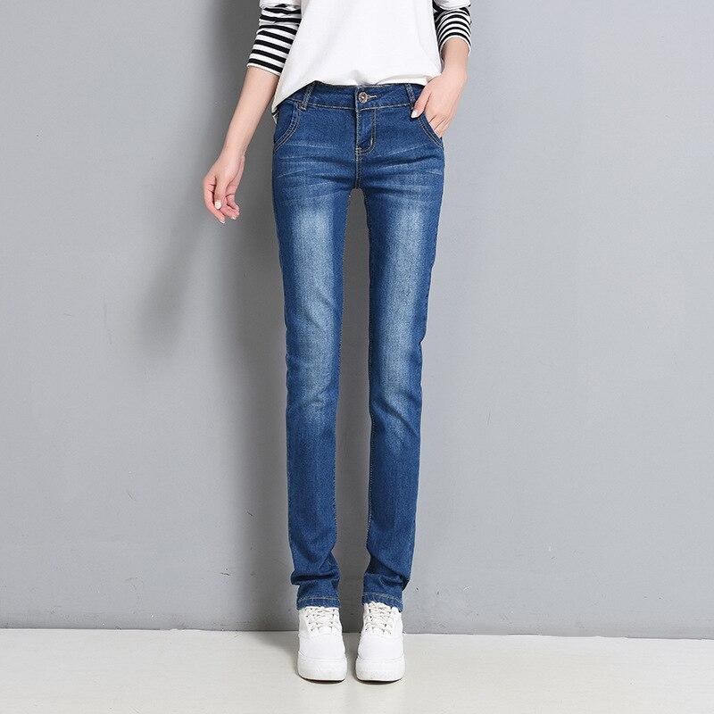 2018 Paragraph Four Seasons Slim Fit Elasticity Straight-Cut Jeans Women's Korean-style Slimming Faded Versatile Fashion Straigh