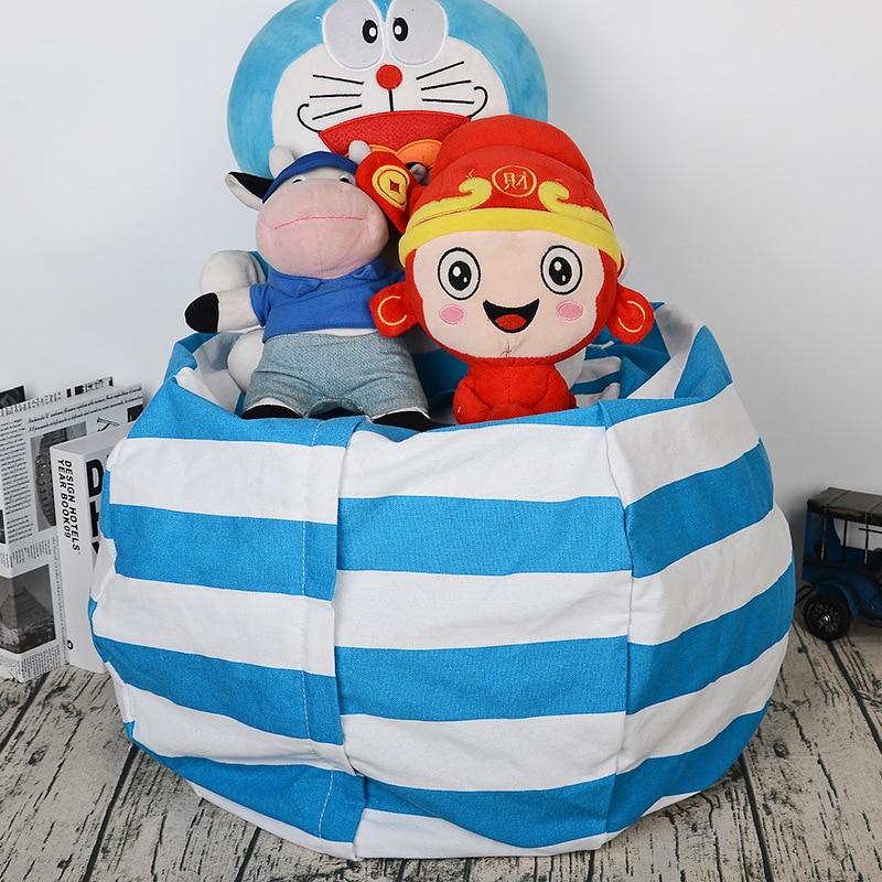 Stuffed Animal Plush Toy portable kids 17inch toy storage bag Bean Bag Soft Pouch canvas  Stripe Fabric Clothes Organizer bag