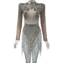 Brilhante cristais grandes malha sexy bodysuit sparkly strass franjas festa discoteca outfit cantor palco desempenho dança traje