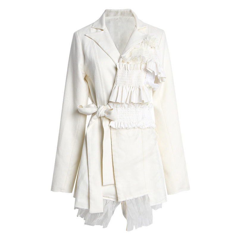 Ruffle Blazer Women Patchwork Irregular Women Blazers Jackets Asymmetry Bandage Vintage Suit Coats Long 2019 Fashion