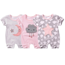 Baby Short-sleeved Jumpsuit Baby Summer Pajamas Cloud Five-s