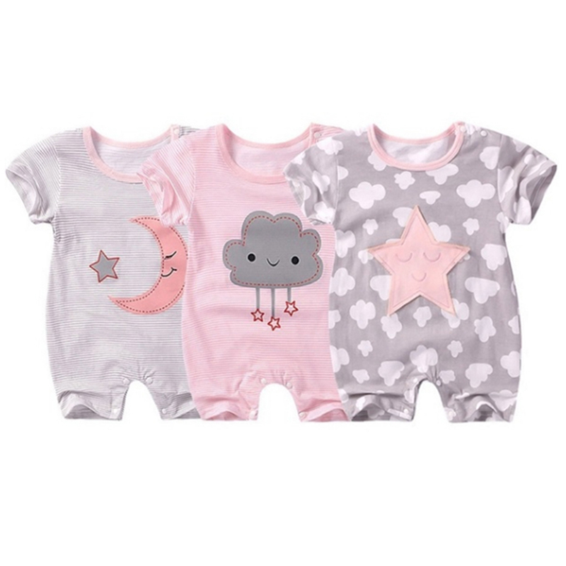 Baby Short-sleeved Jumpsuit Baby Summer Pajamas Cloud Five-star Infant Newborn Summer Clothes