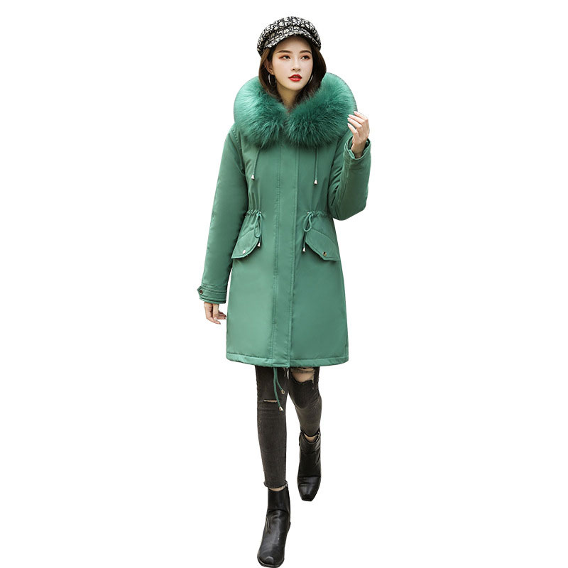 SELX Women Thicken Drawstring Waist Faux Lamb Wool Lined Hooded Padding Coat