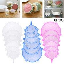 Uds reutilizable elástica de silicio tapas universal tapa de silicona envolver alimentos tazón olla tapa tapones tapas de silicona para alimentos