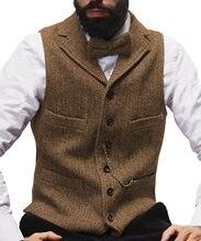 Мужской винтажный шерстяной жилет черный/серый с v образным