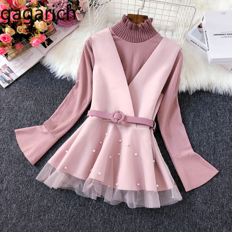 Gagarich Women Two Pieces Set Solid Beading Belt Tie Vests Fashion Half Turtleneck Kintted Bottom Pullover Ladies Casual Sets