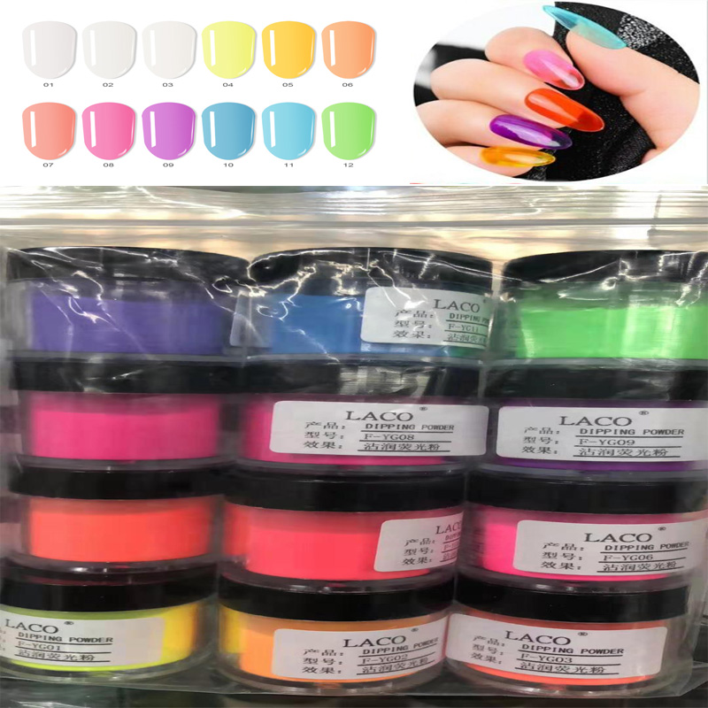 BV# Nail Dipping Powder Colorful Holographic Glitter (10g) Gradient French Dry Nail Art Without Lamp Cure Nail Dust Glitter FA25