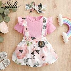 ZAFILLE комплекты одежды для маленьких девочек для новорожденных Ползунки с оборками + на пуговицах, летнее платье для маленьких девочек, компл...