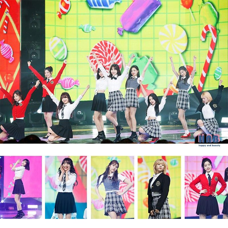 Kpop deux fois même collège vent hauts et jupe deux pièces ensemble femmes étudiant graduation photo pom-pom girl étudiants scène spectacle costumes