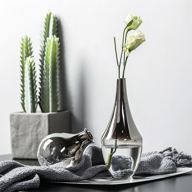 Nordic Glass Vase Creative Silver Gradient Dried Flower Vase Desktop Ornaments Home Decoration Fun Gifts Plants Pots Furnishing