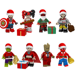 Diy Building Blocks Christmas Series Accessories Cosplay Santa Figures Compatible with Duploed Toys for Children Kids Gifts