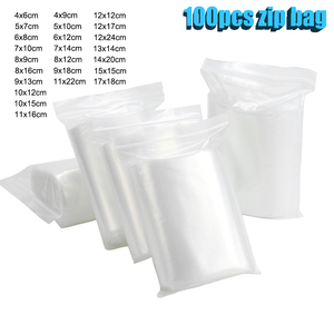100Pcs Transparent Zip Lock Bags Thick Ziplock Clear Plastic Small packing Jewelry package Storage bag Reclosable Poly Zip Bags