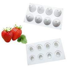 Silicone Mousse Cake Molds 3D Bakeware DIY Mould, 8 Holes Strawberry