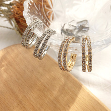 Luokey 2020 Fashion Double Layer Crystal Hoop Earrings For Women Gold Silver Color Trendy Jewelry Elegant Wedding Earrings Gifts luokey 2020 colorful sweet butterfly hoop earrings for women gold silver color simple cute acrylic animal earrings girls jewelry