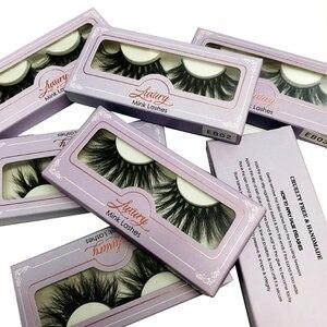 Image 1 - Toptan 25mm 3D vizon kirpik doğal uzun 30 adet/grup sıcak satış 100% el yapımı vizon kürk kirpik ambalaj