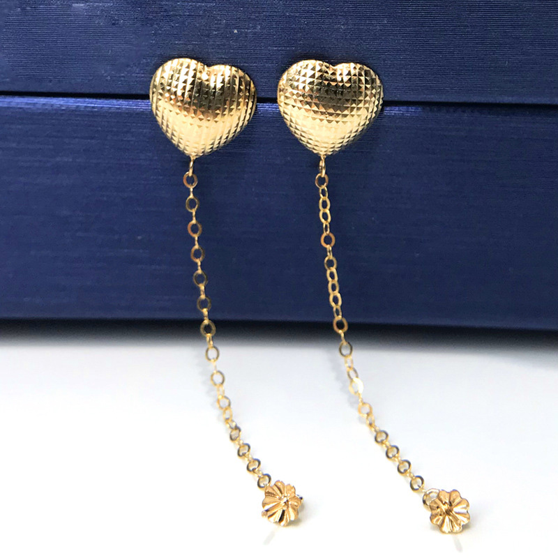 MADALENA SARARA Pure 18K Gold Heart Style Earrings Jewelry Findings Pendant DIY Making