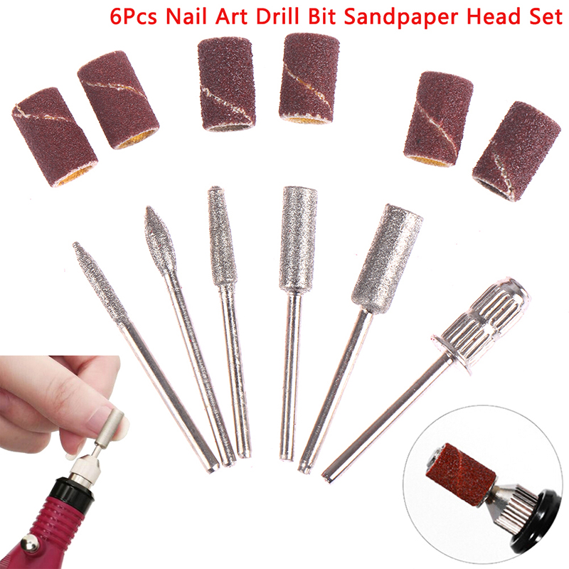 6Pcs Gel Polish Tips Grinding Polishing Shaping Machine Rotary Tool Kits Nail Art Drill Bit Replace Sandpaper Head Set with Case