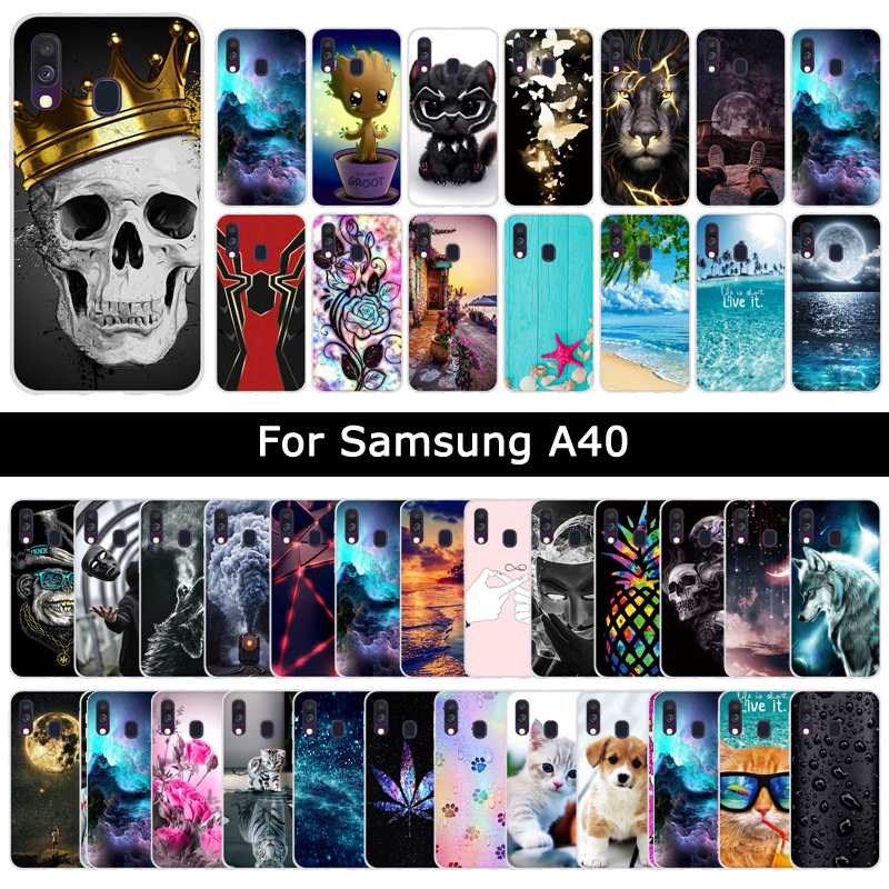 Soft Silicone TPU <font><b>Case</b></font> For <font><b>Samsung</b></font> <font><b>Galaxy</b></font> <font><b>A40</b></font> A 40 Cartoon Cute Painting Protective <font><b>Cases</b></font> Back Phone Shells Cover Fundas Coque image